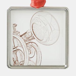Ornamento cuadrado de la trompeta adorno navideño cuadrado de metal