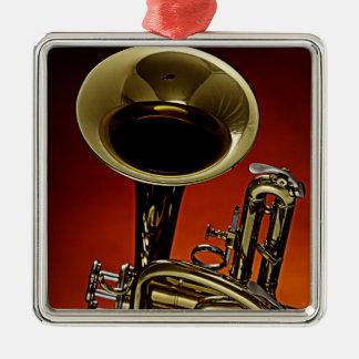 Ornamento cuadrado de la trompeta ornaments para arbol de navidad