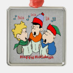 Ornamento cuadrado de los Carolers del navidad Adorno De Navidad