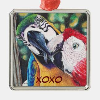 Ornamento cuadrado de los Macaws Adorno Cuadrado Plateado
