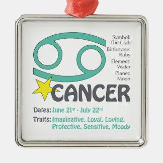 Ornamento cuadrado de los rasgos del cáncer adorno cuadrado plateado