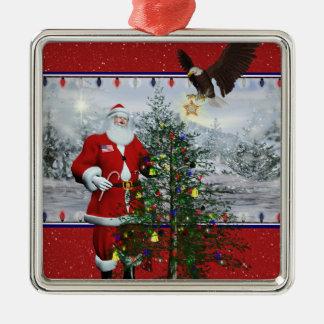 Ornamento cuadrado enmarcado plata patriótica de ornamentos de navidad