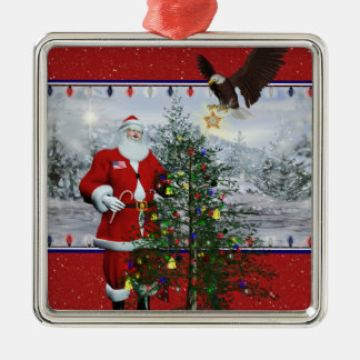 Ornamento cuadrado enmarcado plata patriótica de l ornamentos de navidad
