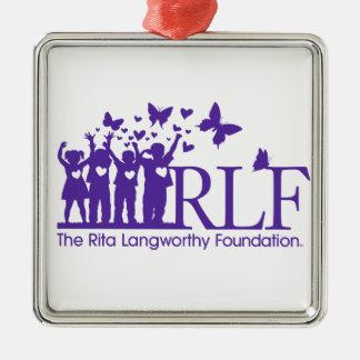 Ornamento cuadrado superior del logotipo de RLF Adorno Navideño Cuadrado De Metal