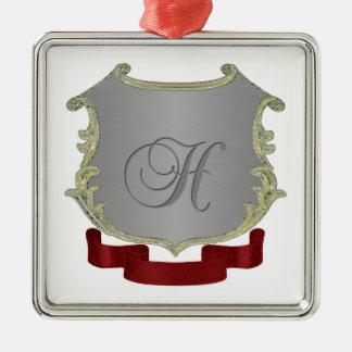 Ornamento cuadrado superior del monograma del adorno navideño cuadrado de metal