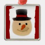 Ornamento cuadrado superior del muñeco de nieve adornos de navidad