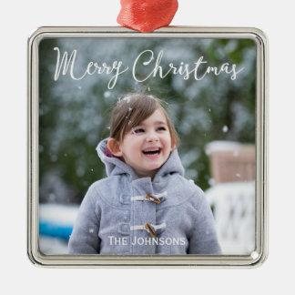 Ornamento cuadrado superior del navidad de la foto adorno navideño cuadrado de metal