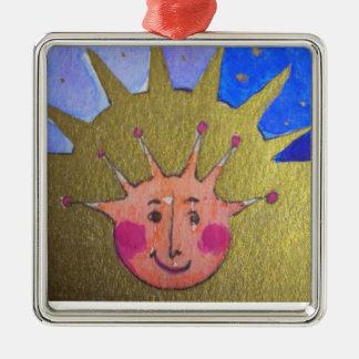 Ornamento cuadrado superior del niño del navidad adorno navideño cuadrado de metal