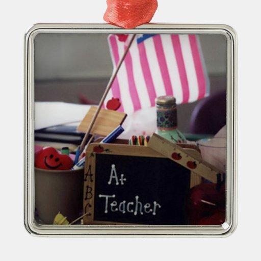 Ornamento cuadrado superior del profesor #1 adorno navideño cuadrado de metal