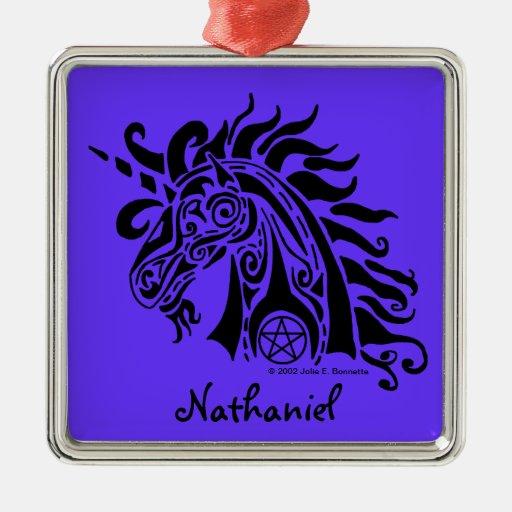 Ornamento cuadrado superior (negro) del unicornio adorno de reyes