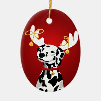 Ornamento dálmata de los ciervos del navidad del adorno navideño ovalado de cerámica