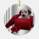 Ornamento dálmata del árbol de navidad adorno redondo de cerámica