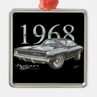 Ornamento de 1968 de Dodge navidad del cargador Adorno Cuadrado Plateado