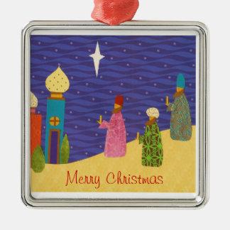 Ornamento de 3 navidad de Wisemen Adorno Cuadrado Plateado