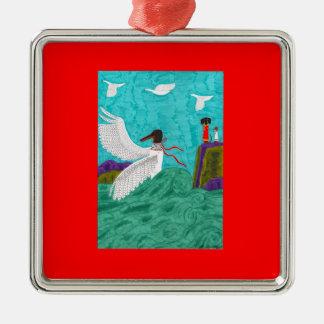 Ornamento de Aioga - cuadrado superior Adorno Cuadrado Plateado