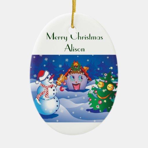 Ornamento de Alison de las Felices Navidad Ornamento De Navidad