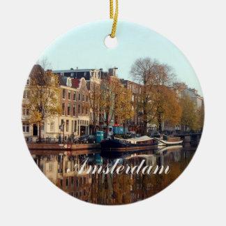 Ornamento de Amsterdam Christms Adorno Navideño Redondo De Cerámica