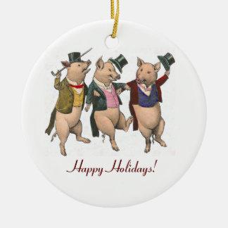 Ornamento de baile de tres navidad de los cerdos adorno navideño redondo de cerámica