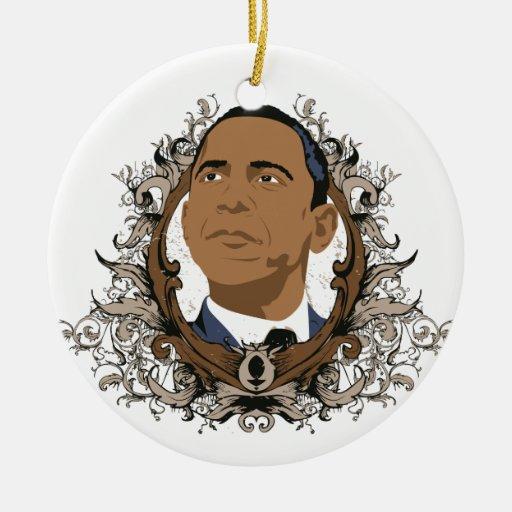 Ornamento de Barack Obama Adorno Redondo De Cerámica