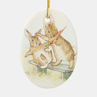 Ornamento de Beatrix Potter Adorno Navideño Ovalado De Cerámica