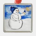 Ornamento de Birdfeeder del muñeco de nieve Adorno Cuadrado Plateado