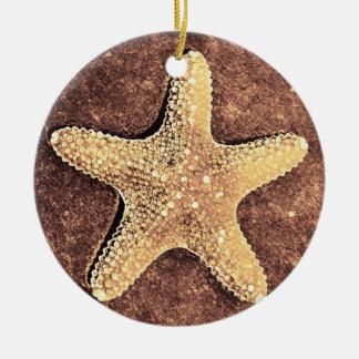 Ornamento de bronce del navidad de las estrellas adorno navideño redondo de cerámica