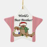 Ornamento de Brother del mundo del oso de peluche  Adornos De Navidad