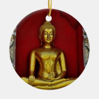 Ornamento de Buda del oro Adorno Navideño Redondo De Cerámica