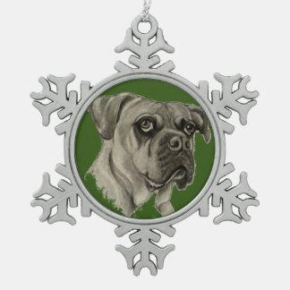 Ornamento de Bulldogge del inglés de Olde por el Adorno De Peltre En Forma De Copo De Nieve