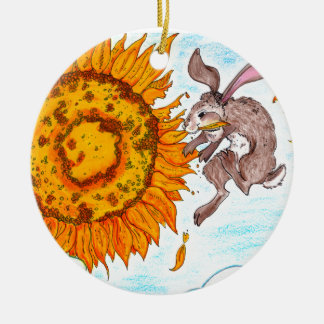 Ornamento de Buny del girasol Adorno Navideño Redondo De Cerámica