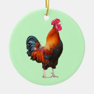 Ornamento de cacareo del gallo adorno redondo de cerámica