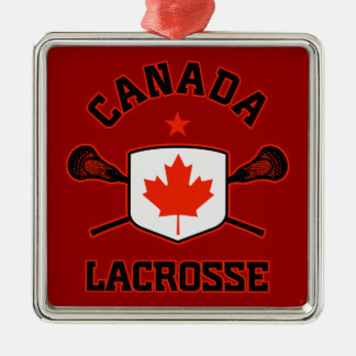 Ornamento de Canadá LaCrosse Adorno Navideño Cuadrado De Metal