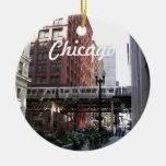Ornamento de cerámica de la foto de Chicago Adorno Navideño Redondo De Cerámica
