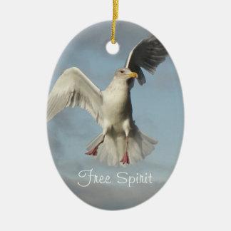 Ornamento de cerámica de la foto de la gaviota del adorno navideño ovalado de cerámica