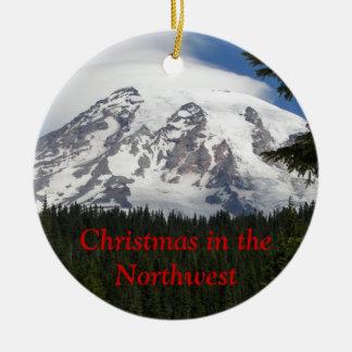 Ornamento de cerámica de la foto del noroeste del adorno navideño redondo de cerámica