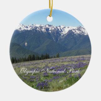 Ornamento de cerámica de la foto olímpica del adorno navideño redondo de cerámica