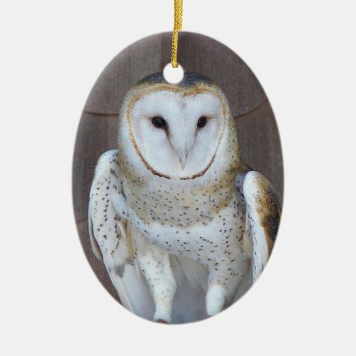 Ornamento de cerámica de la lechuza común ornamento para arbol de navidad