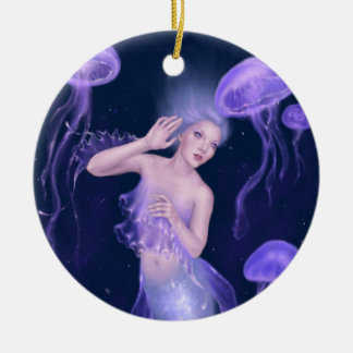 Ornamento de cerámica de la sirena de las medusas adorno navideño redondo de cerámica