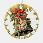 Ornamento de cerámica de plata del navidad de adorno redondo de cerámica
