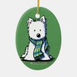 Ornamento de cerámica de Westie de la bufanda del  Adorno De Navidad