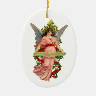 Ornamento de cerámica del árbol de navidad del áng ornamentos de navidad