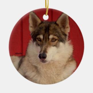Ornamento de cerámica del árbol del lobo adorno navideño redondo de cerámica