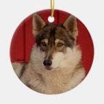 Ornamento de cerámica del árbol del lobo ornamentos de navidad