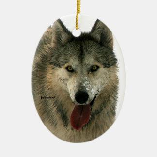 Ornamento de cerámica del árbol del lobo gris adorno navideño ovalado de cerámica