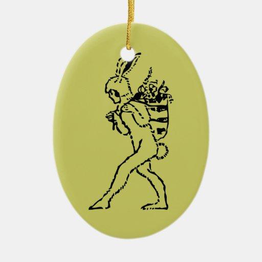 Ornamento de cerámica del conejito de pascua del adorno navideño ovalado de cerámica