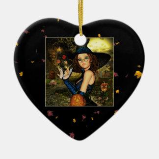 Ornamento de cerámica del corazón de la bruja de adorno de navidad