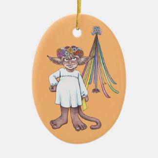 Ornamento de cerámica del gnomo del mono del adorno ovalado de cerámica