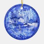 """Ornamento de cerámica """"del mundo azul del sauce"""",  ornamentos de navidad"""