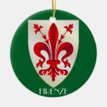 Ornamento de cerámica del navidad de Florencia Adorno Navideño Redondo De Cerámica