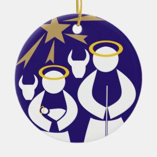 Ornamento de cerámica del navidad de la escena de adorno navideño redondo de cerámica